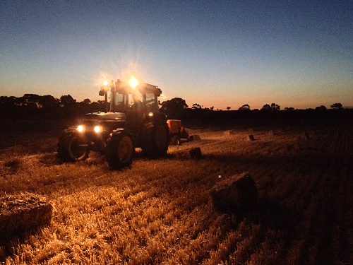 Baling on dusk - Harvey Hay Sales covering Hartley / Strathalbyn / Fleurieu / Adelaide Hills / Fleurieu & Murray Mallee